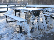 Picnic table ice sculpture