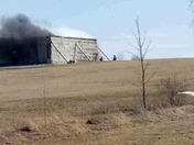 Lakewood drive in Swanton a airplane hanger/storage building caught fire this morning