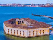 Flying from Bug Light to Fort Gorges