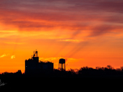 Beam Me Up - Sunrise colors over Prairie City - Photo by Dave Austin
