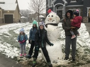 Building a snowman in Lees Summit this awesome April Sunday!!