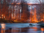 Long exposure of the debris falling from the trestle bridge fire in Martic Forge on the Enola Low-grade trail.