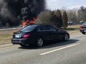 Camper on fire on highway , south bound, Attleboro ma