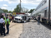 Amtrak train struck a pick up truck