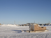 Side view of a traditional Inuit cargo sled or Komatik in the Arviat style in the Kivalliq region