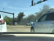 SUV on fire at intersection of Hwy 51 and Canton Pwky today at 2:30pm
