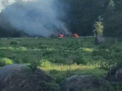 Hay bales on fire in Sw Ocala