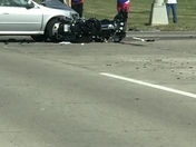 Car Motorcycle accident at 186th & Center today