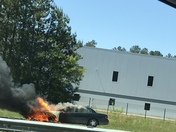 Car on fire 85 S. Just before Clemson exit