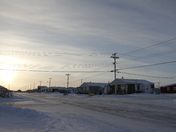Street view of an arctic community and neigbourhood