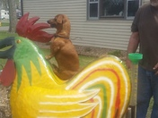 My brother Marty Kirby's Little miniature dachshund Reese sitting on the big rooster