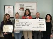 Emergency Shelter of Northern Kentucky Awarded $10,000 from Bilz Insurance