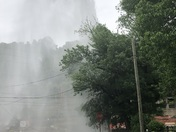 A top of a fire hydrant blows off in west Elizabeth
