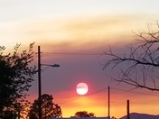 The setting sun through smoke from a forest fire in the Manzano Mountains.