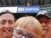 Mommom poppop at the revs game with 2 year old grandson