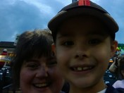 Adon & Mom @ Revs game tonight! Saw a rainbow & looking forward to fireworks & a win! Go Revs!