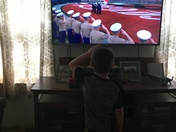 My son Kyle saluting while the National Anthem was playing