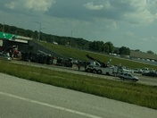 Truck flip at 49 South and hwy 150 by Belton.
