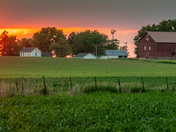 Iowa Spring Sunset on the Farm - Photo by Dave Austin