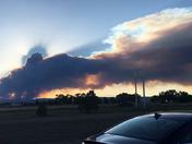 Ute Park Fire at sunset