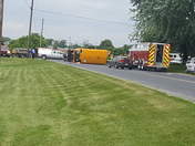 School bus overturned in South Lebanon Township.