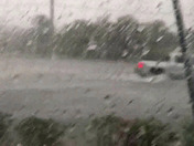 View of flooding on US 1 and Beach Road from the Lighthouse Diner during todays storm