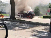 Van caught on fire 🔥in the middle of the road