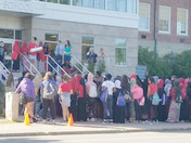 LMS students protesting this morning for the loss of their classmate.