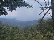 Overlooking Wilkes County at rain from Laurel Springs