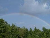 Beautiful rainbow on Noccalula Falls mountain
