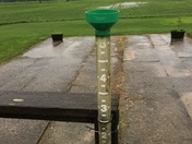 Float was at 5 inches this morning , has now disappeared, and it's still raining .