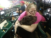 Me and my wife and dog at a rainy Barnstormers game