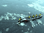 Ice canoe race.