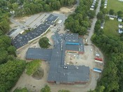Aerial view of Hall School about to be torn down.
