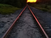 Sunset over Congress Street Railroad Tracks