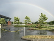 Rainbow over Ann Barshinger Cancer Center