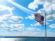 My son Dustin took this pic from the Grand Isle Ferry,I think it's a perfect 4th of July pic.