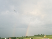 Double rainbow after the storm in Truro, IA