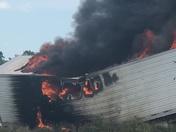 Semi truck on fire