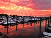 Summer sunset over Harbor lights marina in Warwick RI