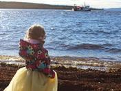 Princess waves goodbye to fisherman Dad
