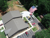 Simpsonville Fire department raising giant American Flag.