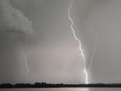 lightning over lake manawa