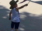 Teaching our 3 year old grandson patriotism!