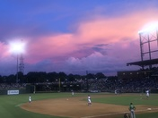 Sunset clouds at the Winston Salem Dash game.