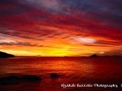 Ocean and sky in fire