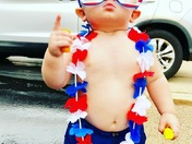 My one year old grandson, Calvert Mills Fernandez, decked out in his July 4th regalia.