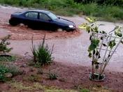 Road floods in rain storm in Villanueva