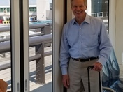 Senator Bill Nelson on the tram at Orlando International Airport