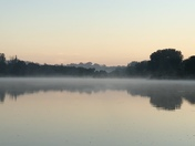 Fog on Cunningham Lake at dawn